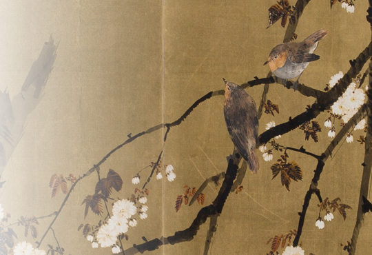 Reasons to be Alone, Reasons to be with Others: Folding Screen with Birds and Flowers