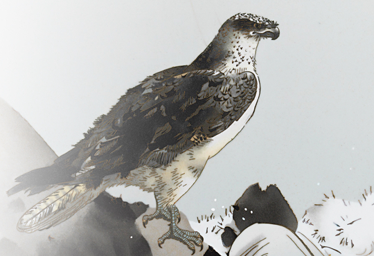 Choosing a Bird to Paint for a Rocky Shore: Cloissoné Enamel Painting by Namikawa Sōsuke Decorated with Waves and Osprey Design by Watanabe Seitei