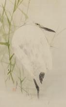 渡邊省亭「よしに鷺の図」