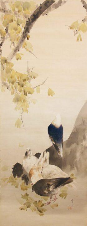 渡邊省亭「銀杏群鳩之図」