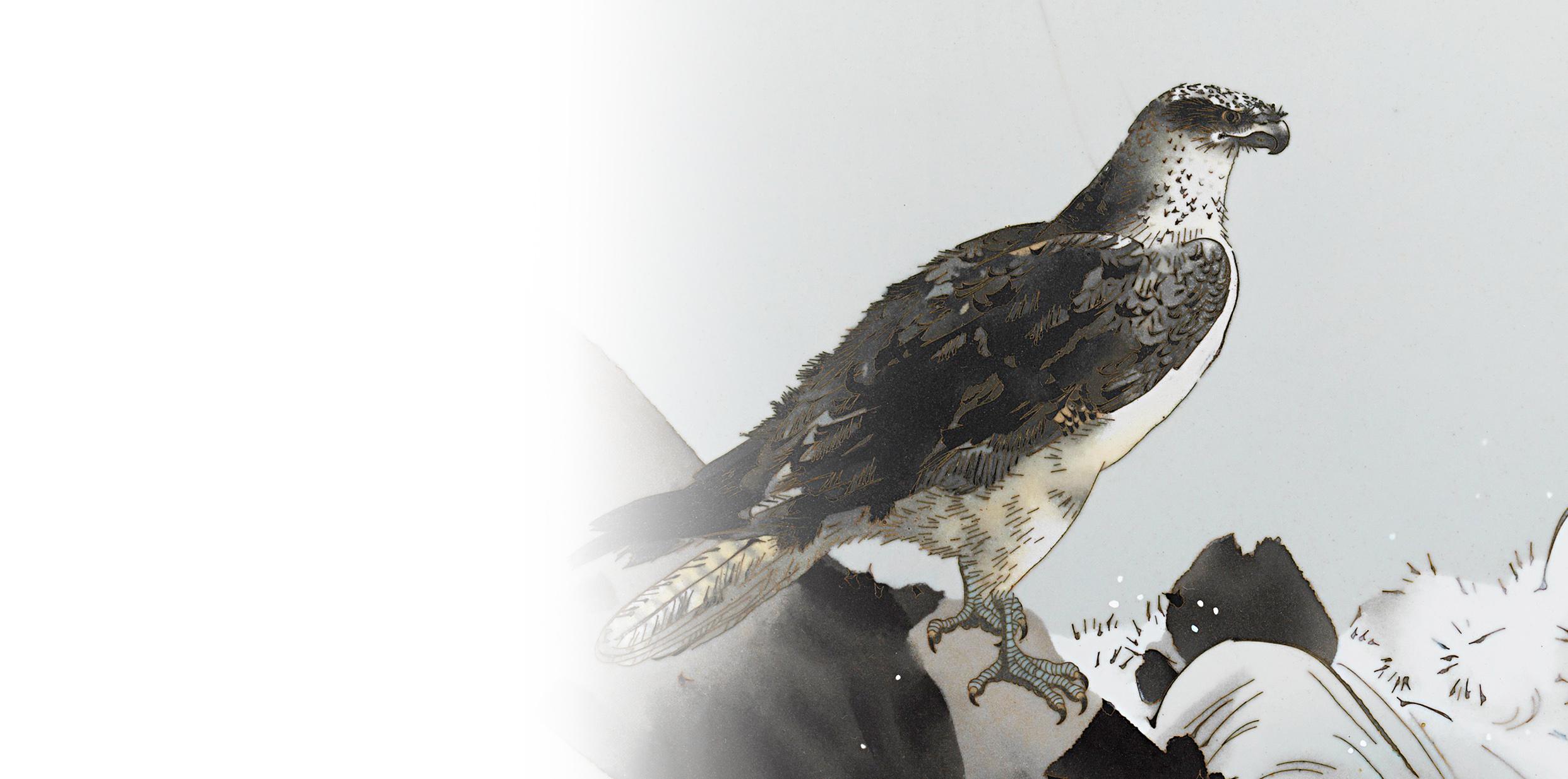 荒磯にはどんな鳥を描くべきか:七宝荒磯鶚図額